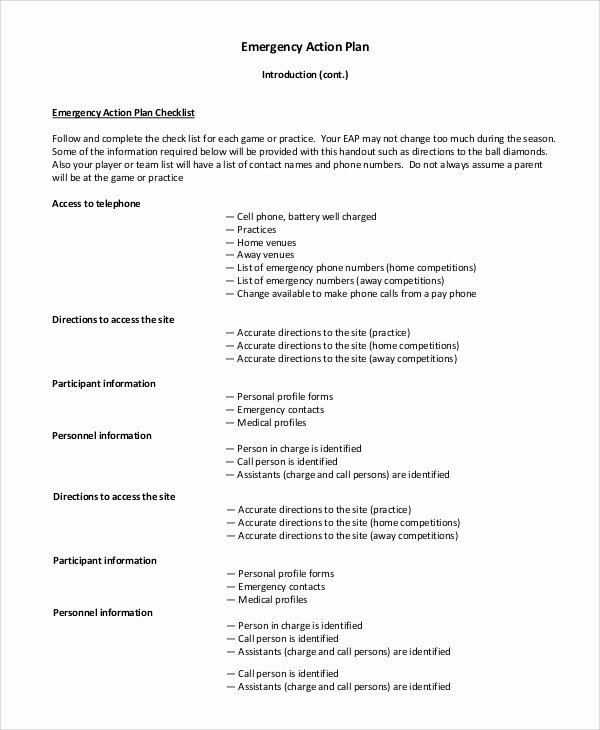 Emergency Action Plan Sample Fresh 8 Sample Emergency Action Plan In Pdf Word