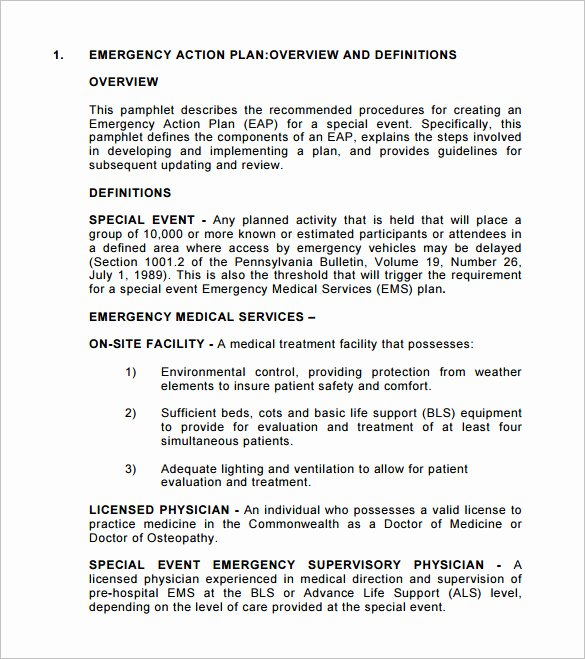 Emergency Action Plan Sample Inspirational Emergency Action Plan Template 9 Free Sample Example