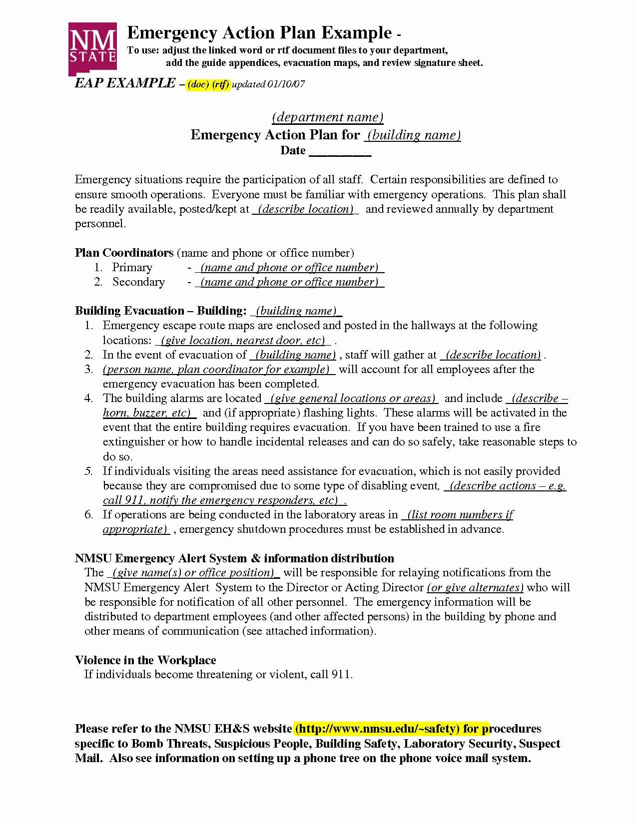 Emergency Action Plan Sample Luxury Emergency Action Plan Template