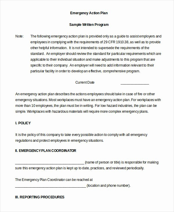 Emergency Action Plan Sample New Emergency Action Plan Template 10 Free Sample Example
