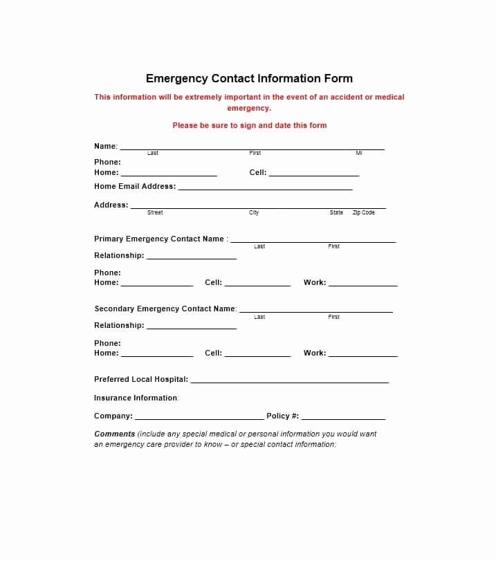 Emergency Contact form for Employers Beautiful 54 Free Emergency Contact forms [employee Student]