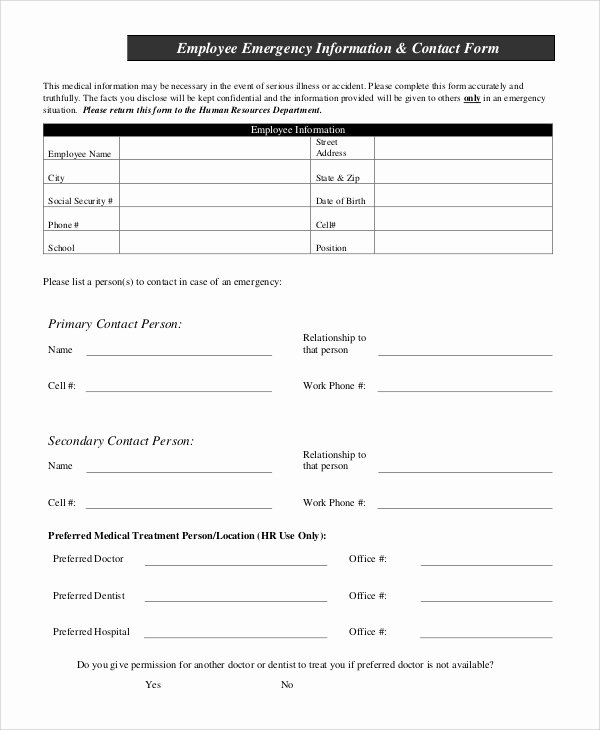 Emergency Contact form for Employers Best Of Sample Employee Information form 10 Examples In Pdf Word