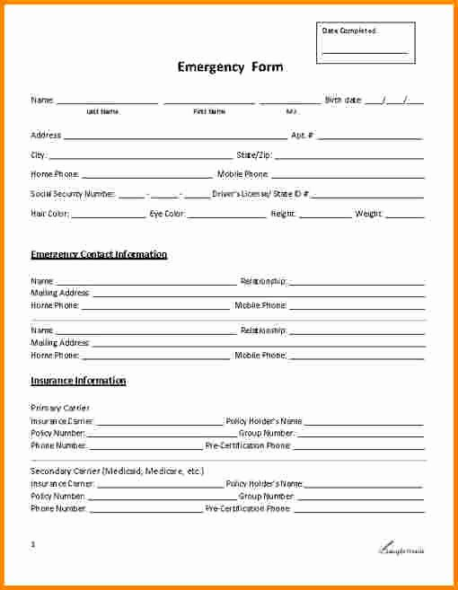 Emergency Contact form for Employers Fresh 29 Of Emergency Contact List Template for Employees