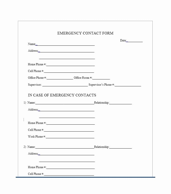 Emergency Contact form for Employers Fresh 54 Free Emergency Contact forms [employee Student]