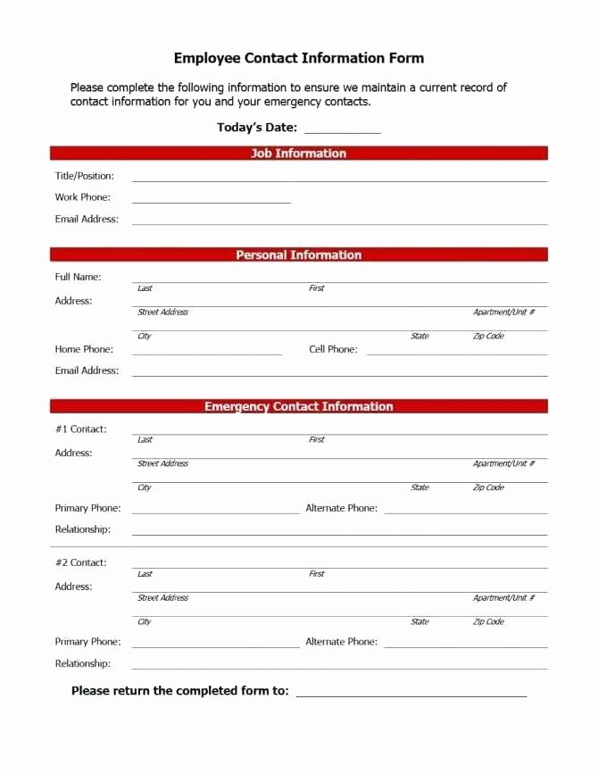 Emergency Contact form for Employers Lovely Employee Contact Information Template – Employee Emergency