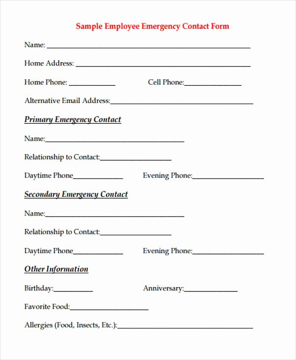 Emergency Contact form for Employers Luxury 32 Emergency Contact form Example