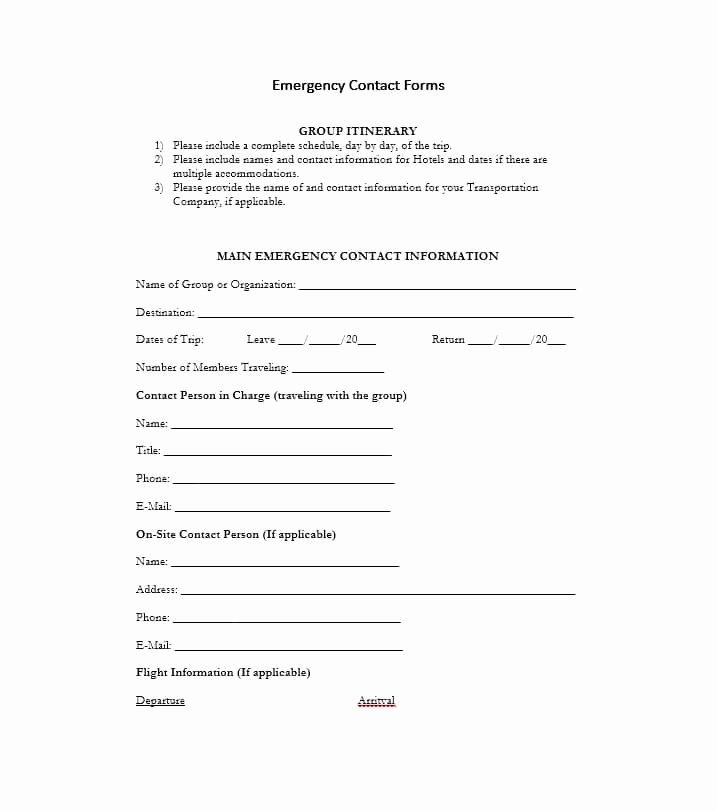 Emergency Contact form for Employers Luxury 54 Free Emergency Contact forms [employee Student]