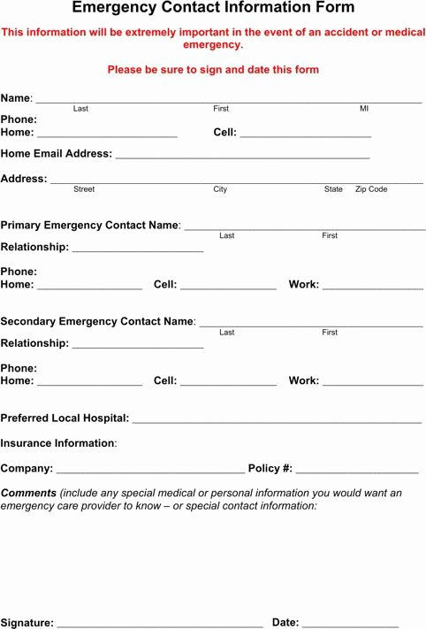 Emergency Contact form for Employers Luxury Emergency Contact form Templates&forms