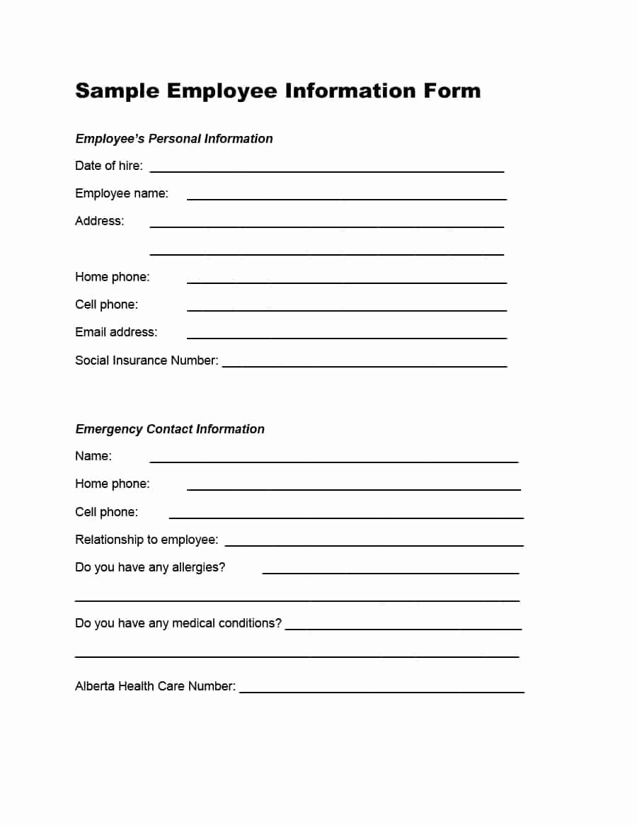 Emergency Contact form for Employers New 47 Printable Employee Information forms Personnel