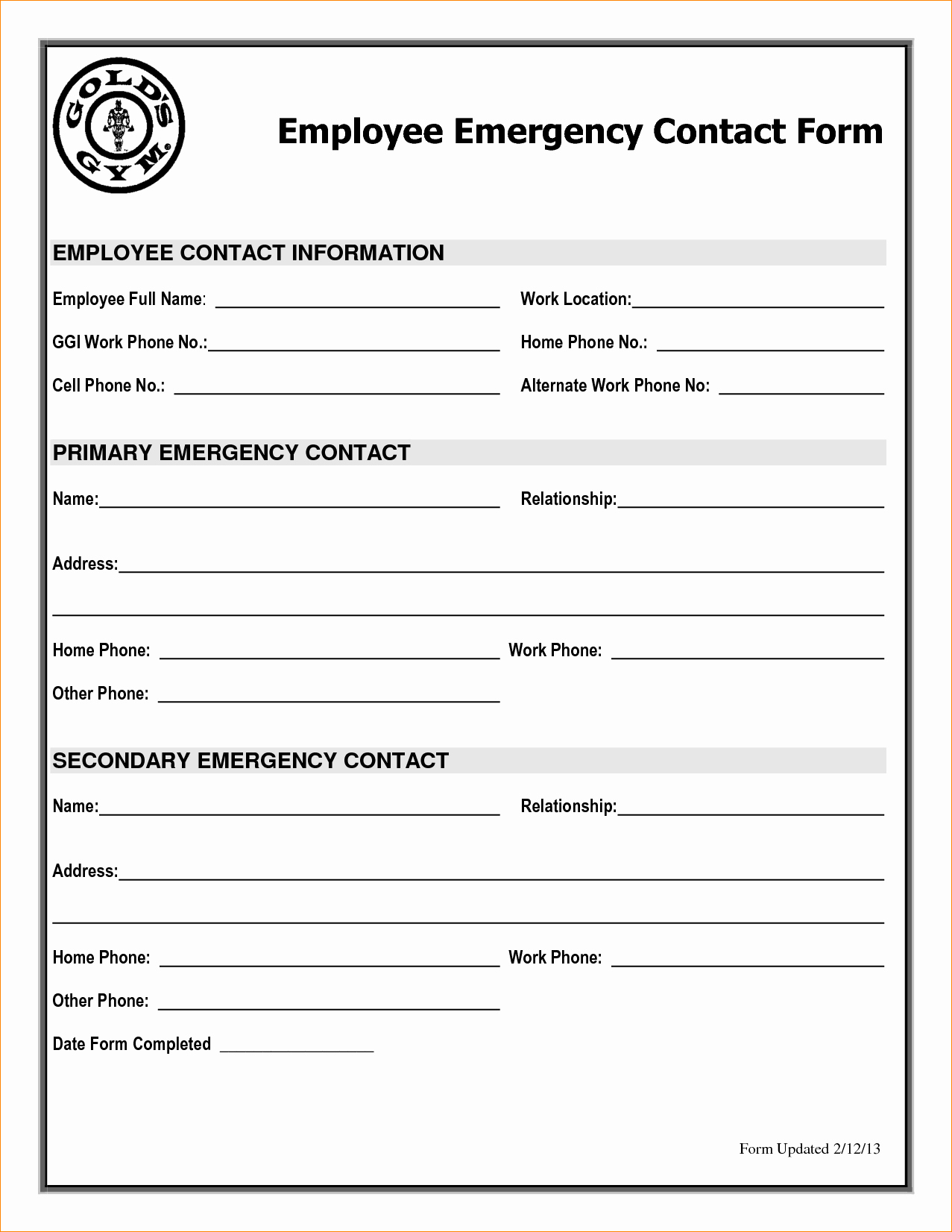 Emergency Contact form for Employers New Employee Emergency Contact Printable form to Pin