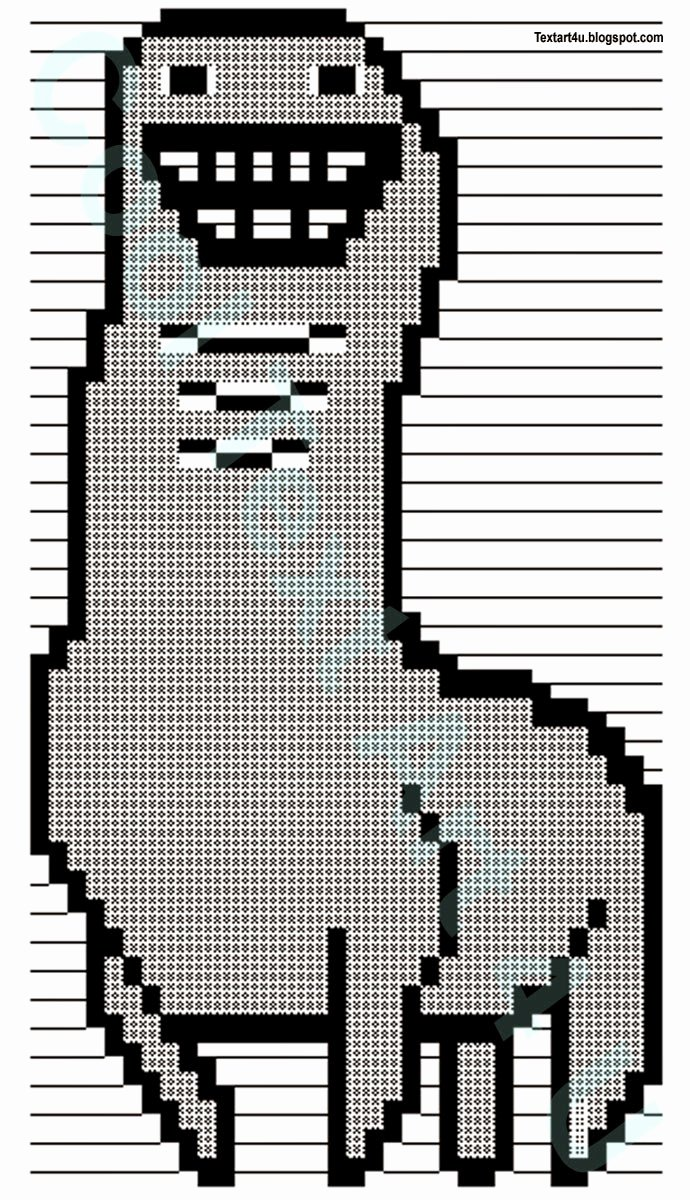Emoji Art Copy and Paste Lovely Bunchie the Llama ascii Text Art Codes