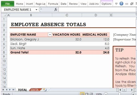 Employee Absence form Template Awesome 9 Employee Vacation Tracker Templates Excel Templates