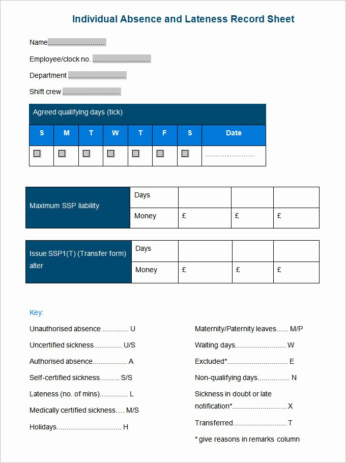 Employee Absence form Template Beautiful Employee Record Templates 26 Free Word Pdf Documents