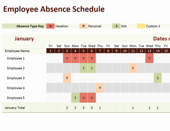 Employee Absence form Template Fresh Employee Absence Schedule