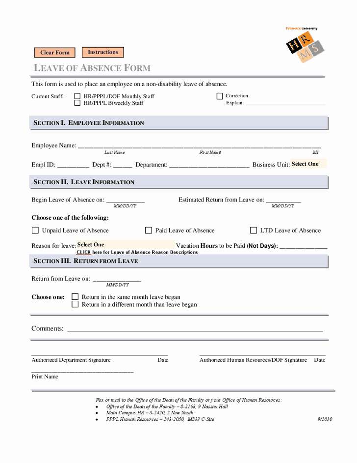 Employee Absence form Template Inspirational Leave Of Absence form Leave Of Absence form