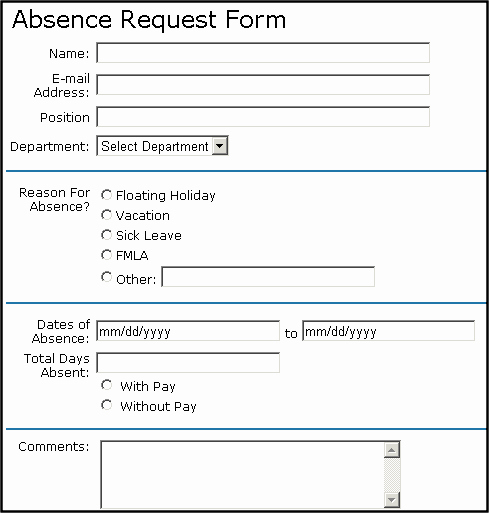 Employee Absence form Template Lovely formblock Server Control