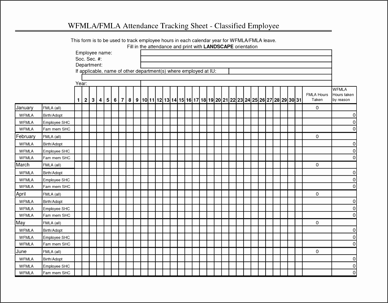 Employee Absence form Template Unique 8 attendance Sheet format Sampletemplatess