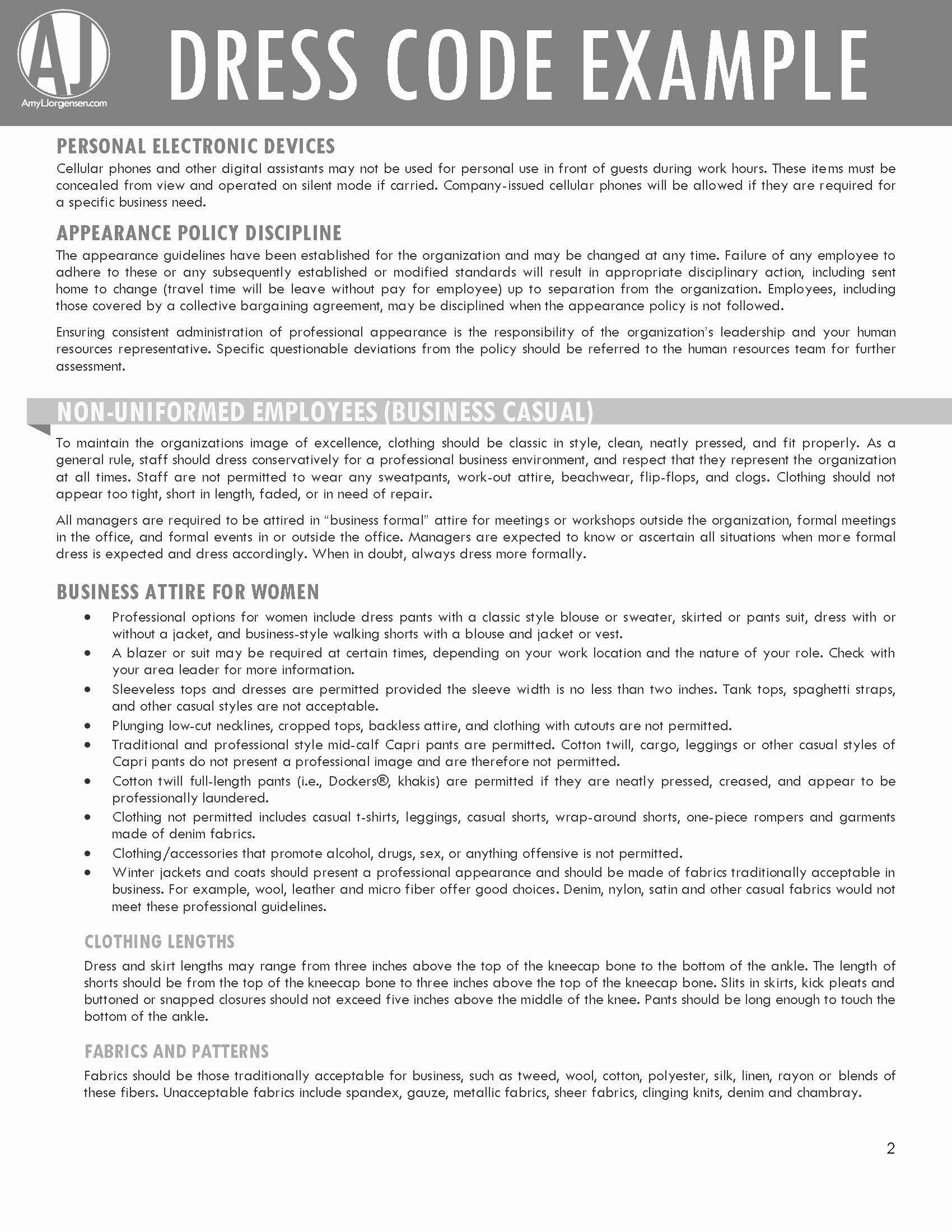 Employee Dress Code Policy Sample Elegant Dress Code Example – Amyljorgensen