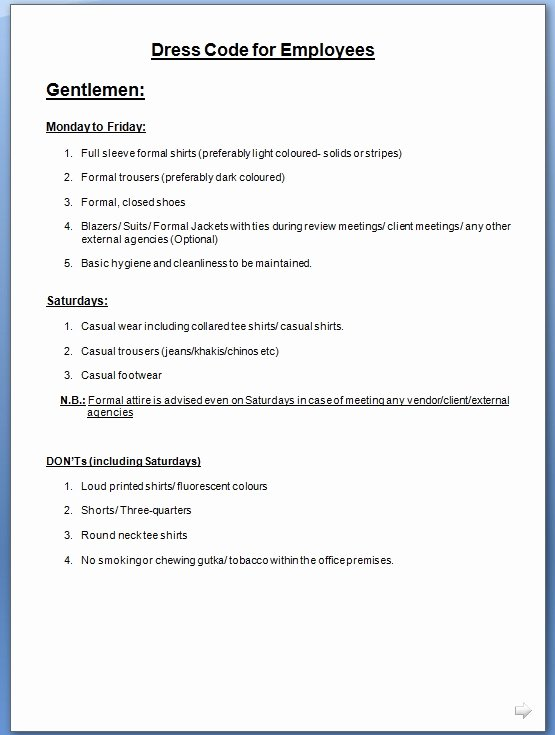 Employee Dress Code Policy Sample Inspirational Employee Dress Code Policy Template for Fice