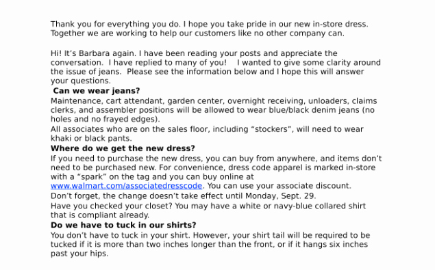 "Employee Dress Code Policy Sample Lovely Walmart Workers Rant About the ""nonsense"" New Dress Code"
