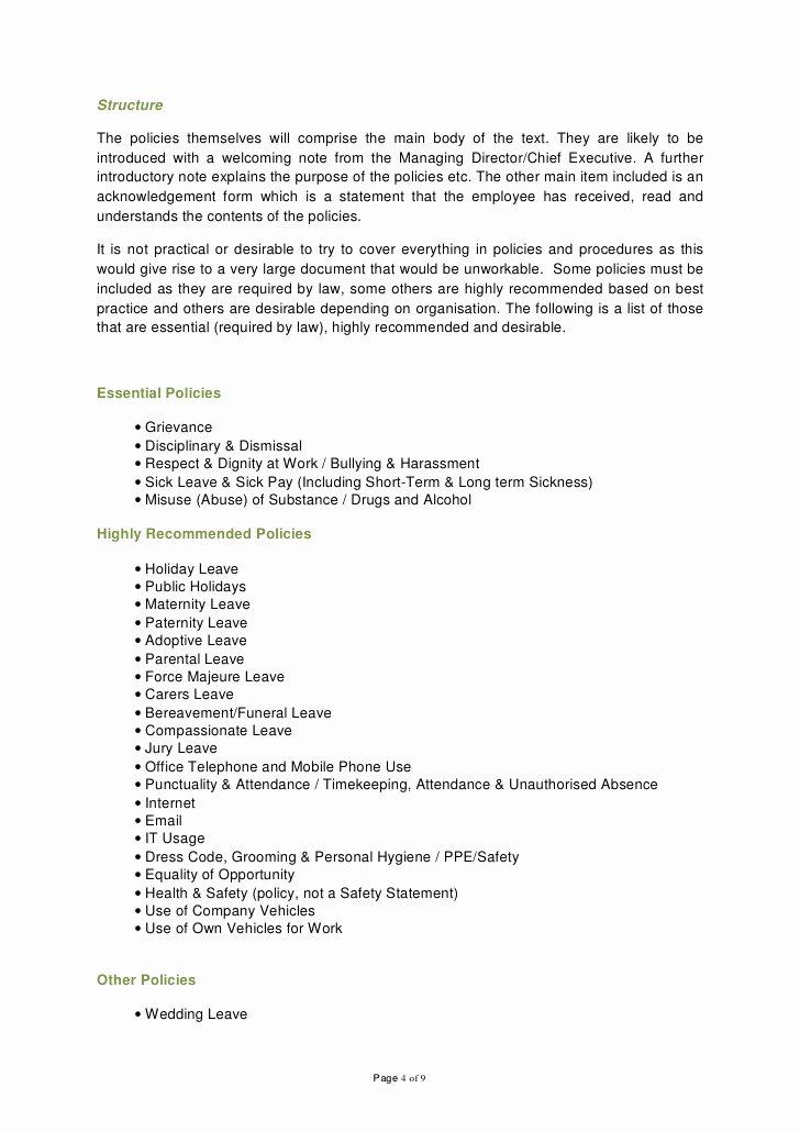 Employee Dress Code Policy Sample Luxury Employee Handbook