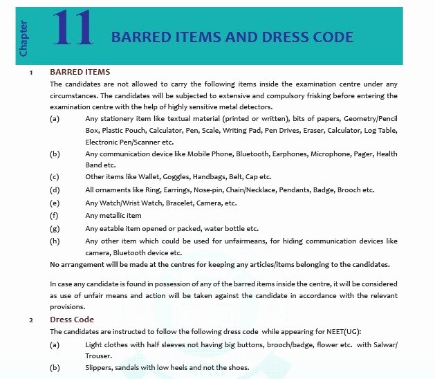 Employee Dress Code Policy Sample Luxury Neet 2018 Dress Code for Male and Female Neet Results 2018