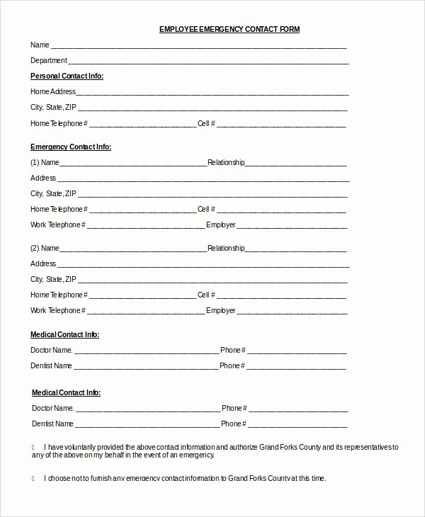 Employee Information Sheet Template Awesome 8 Sample Emergency Contact forms Pdf Doc