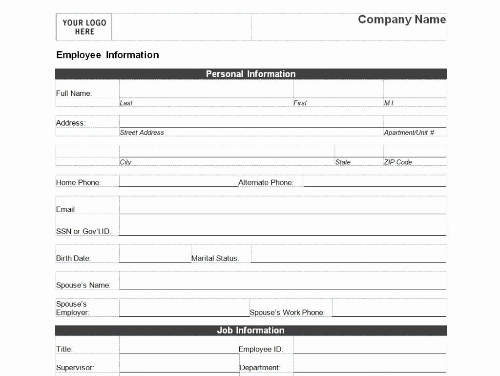 Employee Information Sheet Template Best Of Employee Personal Information form Template