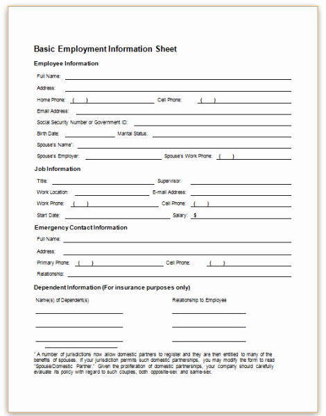 Employee Information Sheet Template Elegant form Specifications