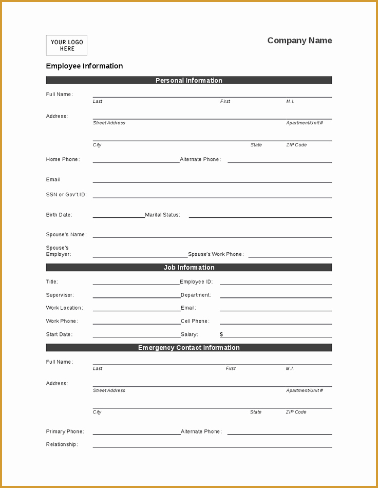 Employee Information Sheet Template Fresh Employee Personal Information form Template