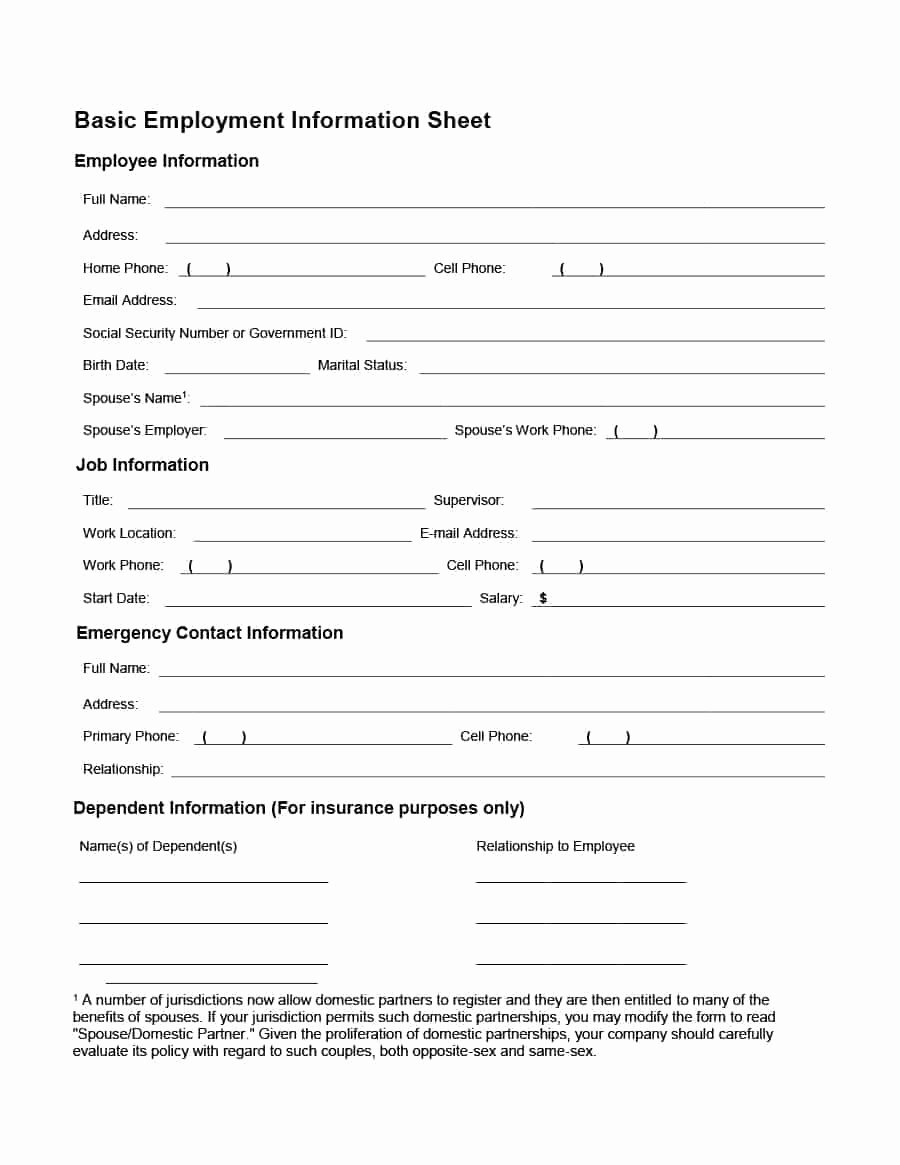 Employee Information Sheet Template Lovely 47 Printable Employee Information forms Personnel