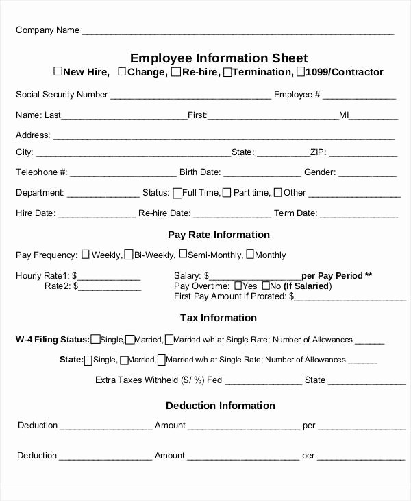 Employee Information Sheet Template Unique 53 Information Sheet Examples