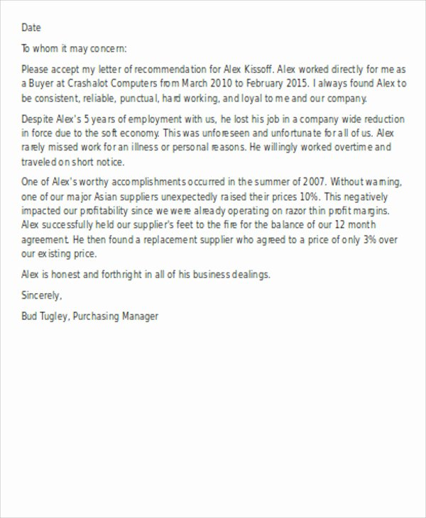 Employee Recommendation Letter Example Beautiful Fresh Sample Re Mendation Letter for Employee Download