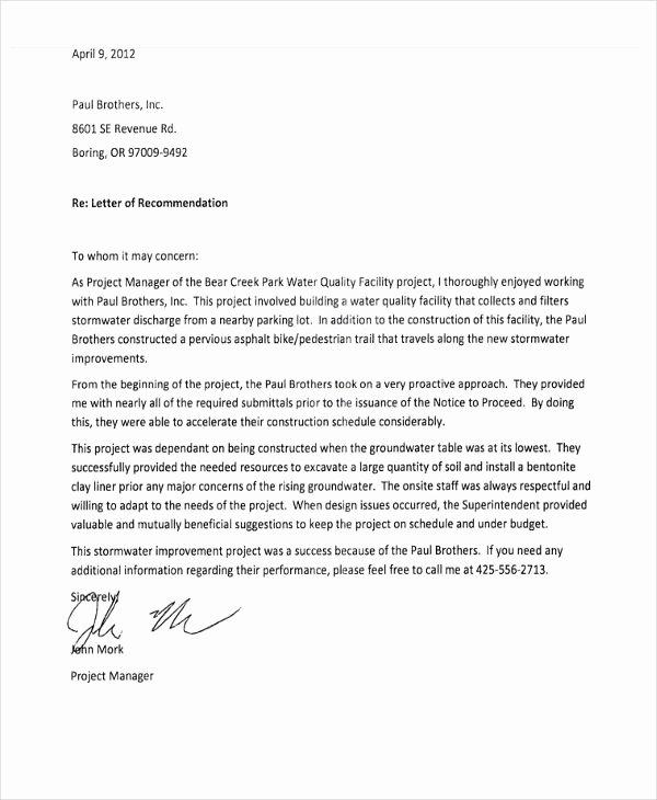 Employee Recommendation Letter Example Elegant Employee Re Mendation Letter