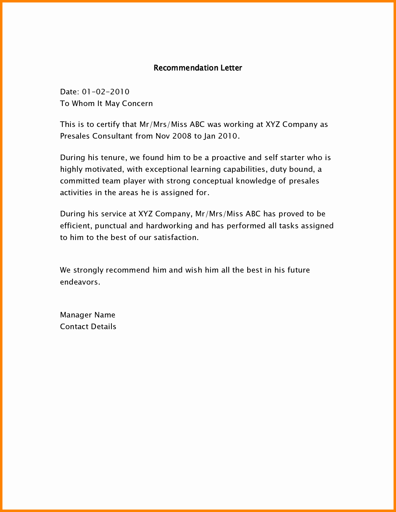 Employee Recommendation Letter Example Fresh 5 Employee Re Mendation Letter Samples