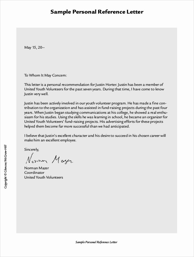 Employee Recommendation Letter Example Fresh format Of Re Mendation Letter From Employer Pics