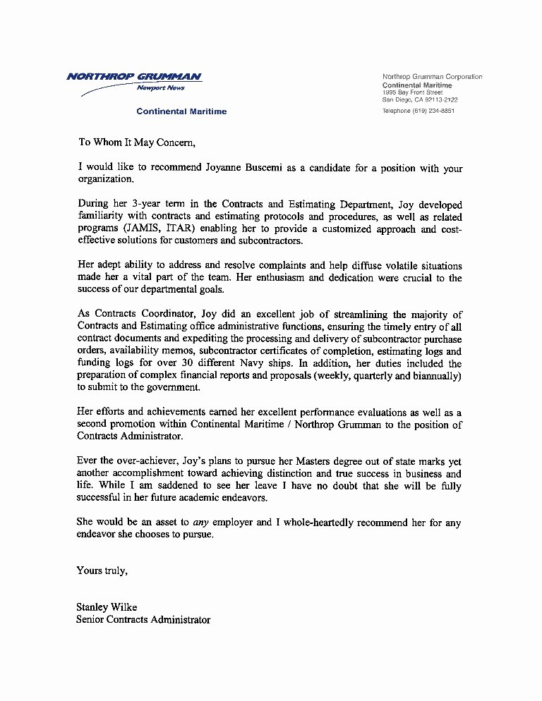 Employee Recommendation Letter Example Fresh Re Mendation Letter Previous Employer