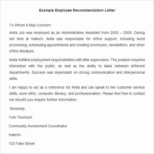 Employee Recommendation Letter Example Inspirational 18 Employee Re Mendation Letters Pdf Doc