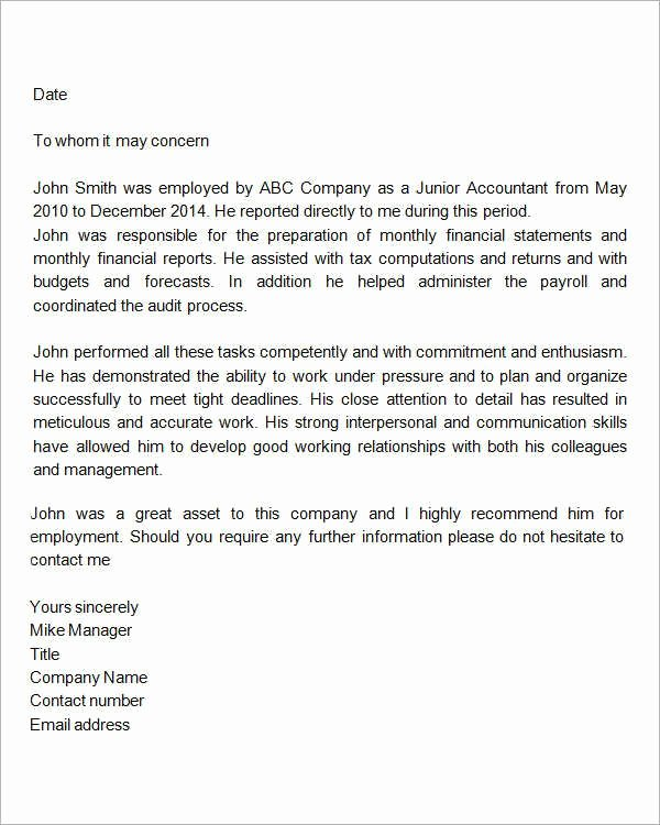 Employee Recommendation Letter Example Inspirational Re Mendation Letter for Employment Doc New