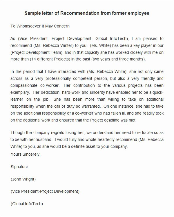 Employee Recommendation Letter Sample Beautiful 18 Employee Re Mendation Letters Pdf Doc