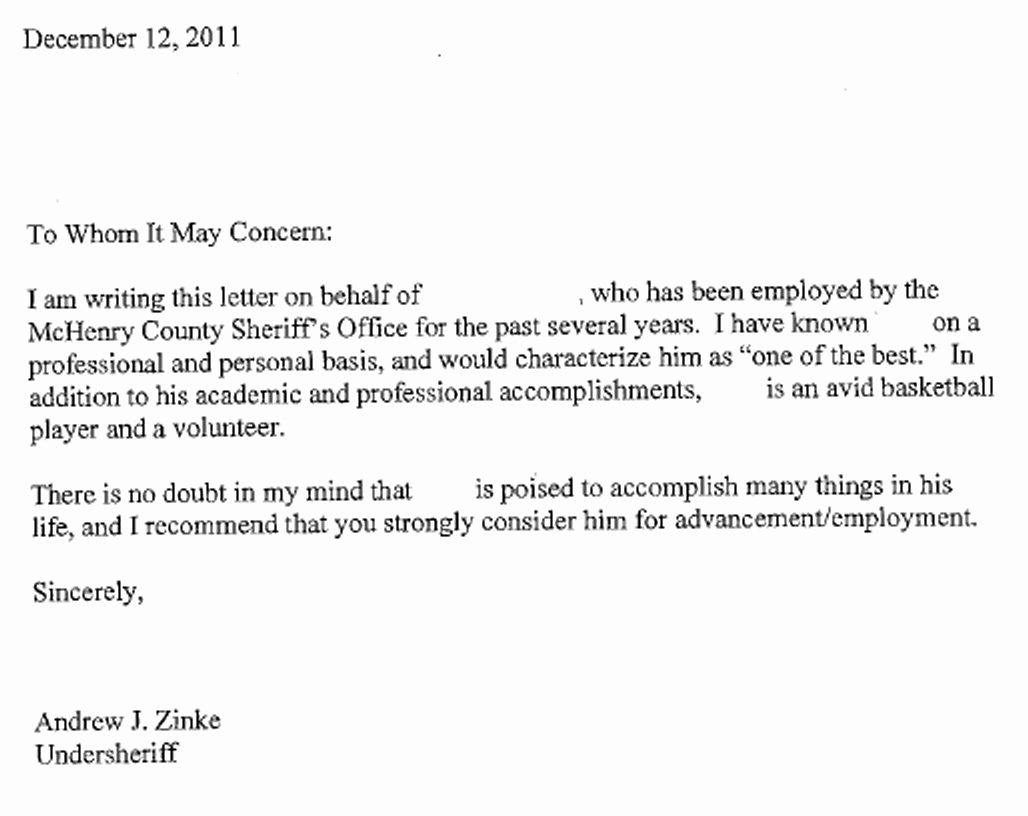 Employee Recommendation Letter Sample New Zinke Job Re Mendatons top Secret Hush Hush Mchenry