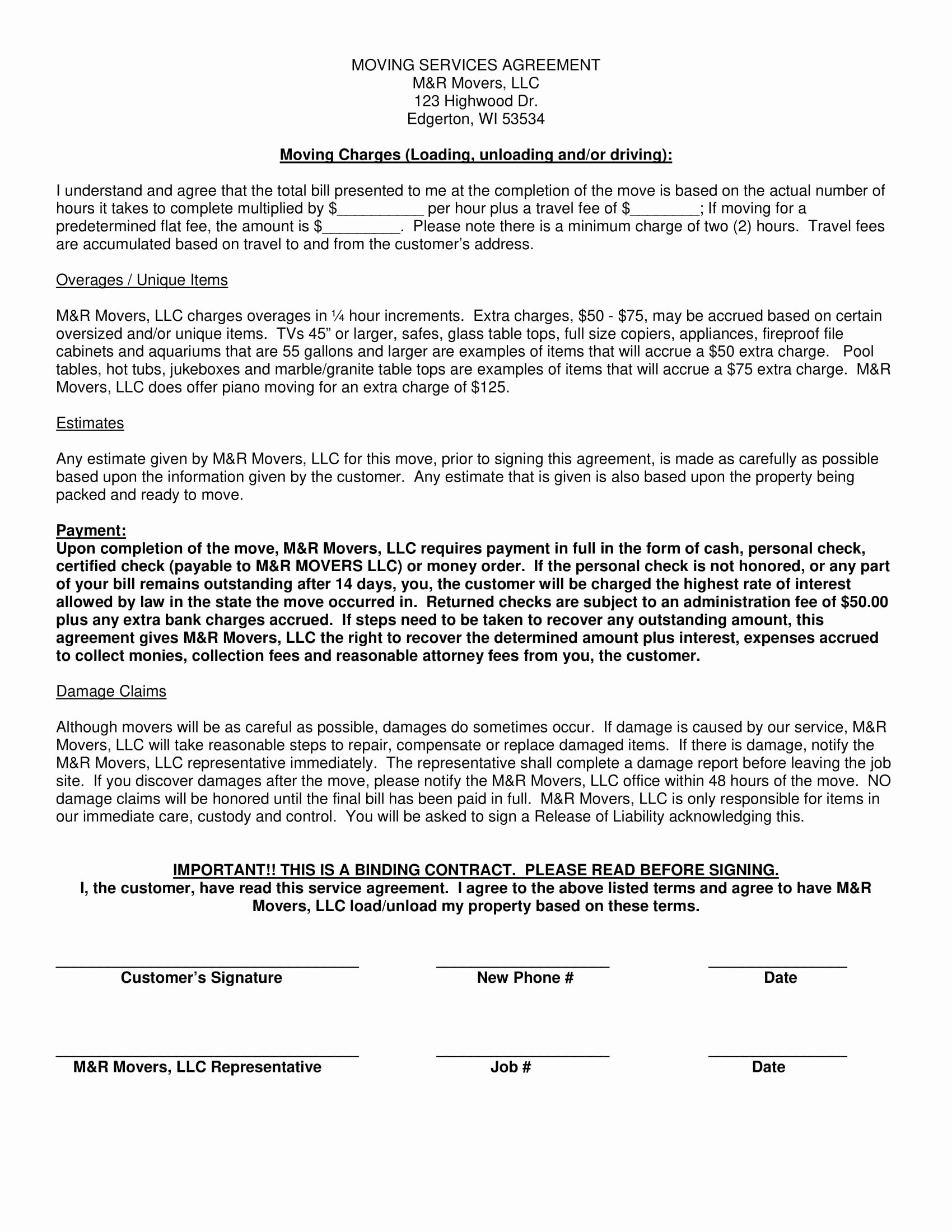 Employee Relocation Agreement Sample Awesome 11 Moving Pany Contract Templates Word Docs