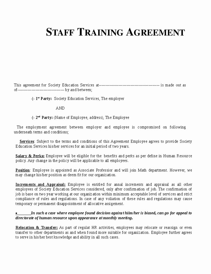 Employee Relocation Agreement Sample Beautiful 48 Good Employee Training Agreement Bo Q