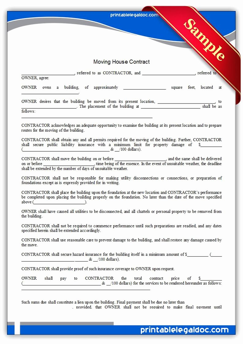 Employee Relocation Agreement Sample Best Of Free Printable Moving House Contract Legal forms