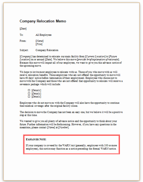 Employee Relocation Agreement Sample Best Of This Sample Notice Gives Employees Information About A