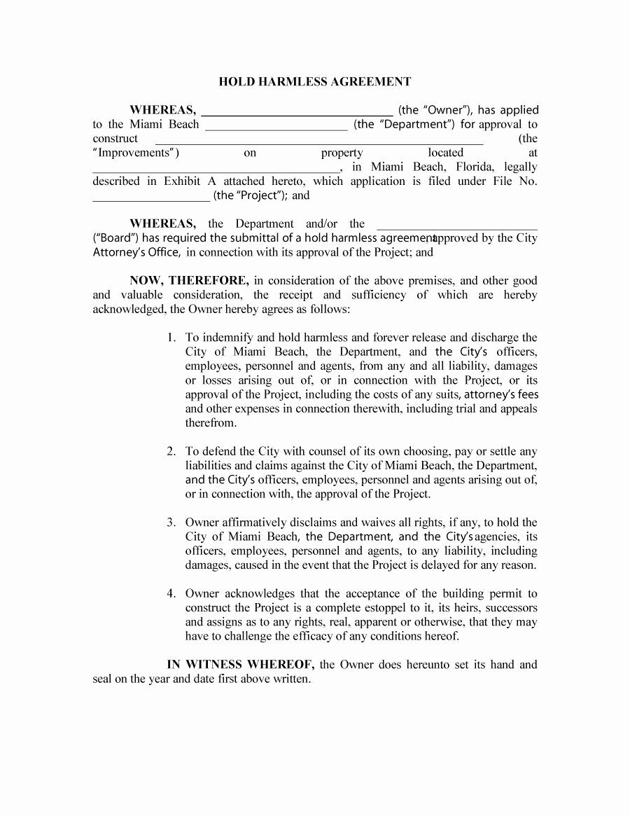 Employee Relocation Agreement Sample Elegant 41 Free Hold Harmless Agreement Templates Free Free