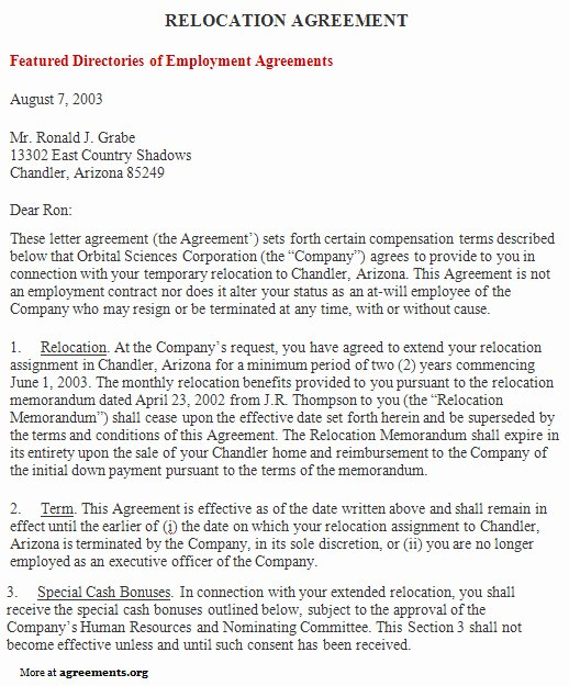 Employee Relocation Agreement Sample Inspirational Relocation Agreement Sample Relocation Agreement Template