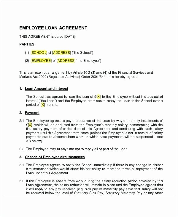 Employee Relocation Agreement Sample Unique Sample Loan Agreement Document Preview Payment Template