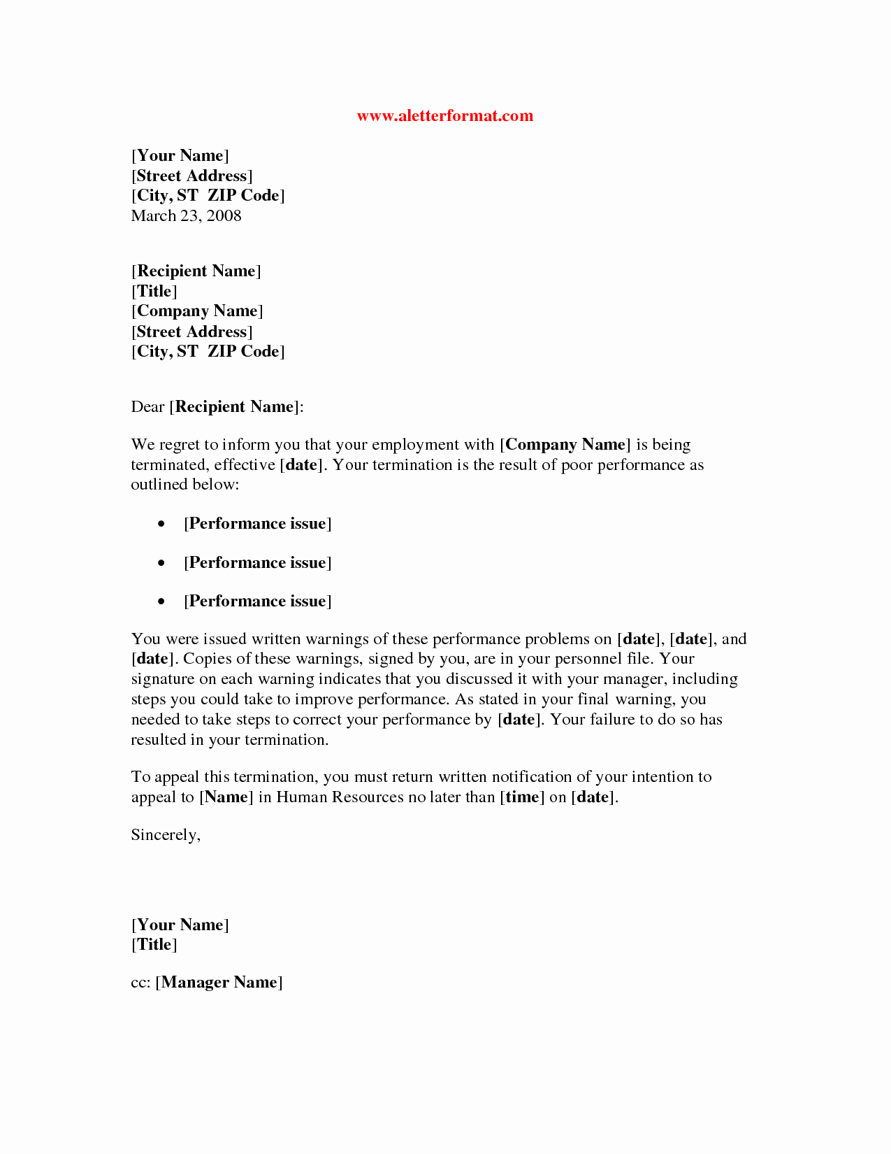 Employee Termination Letter Sample Awesome Termination Letter Poor Performance