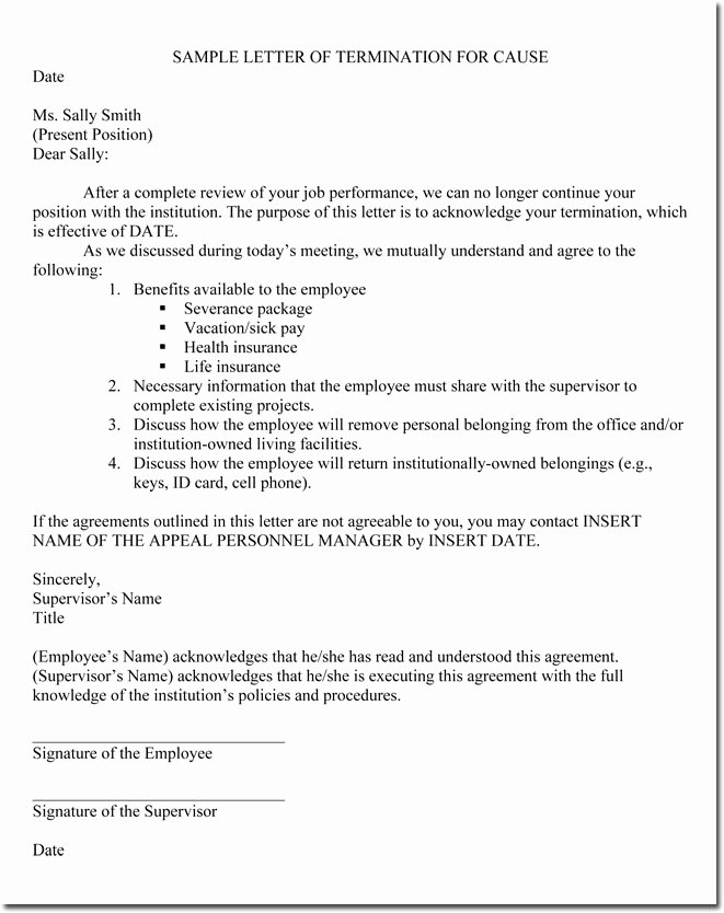 Employee Termination Letter Sample Fresh Job Termination Letters for Cause & without Cause Sample